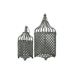 Set Of Two Remarkable Metal Bird Cage With Hook Hangers Antique Gray