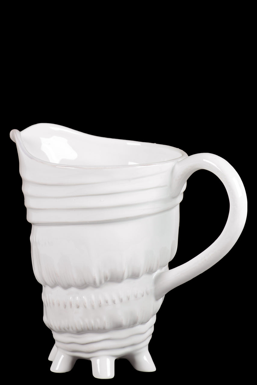 Ceramic Pitcher W/ Distinctive Seashell Pattern W/ Tiny Multileg In White