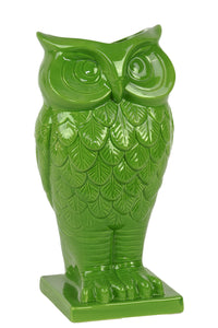 Beautiful & Spectacular Owl Design Ceramic Vase In Green