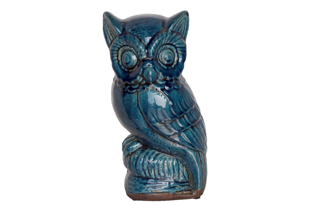 Charming & Sweet Hypnotizing Ceramic Owl In Blue