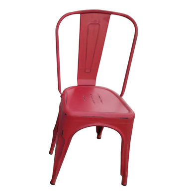 Tolix Red Steel Chair by Urban Port - Set of 2 Chairs