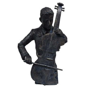 Violin Player Statue Sculpture in Patina Black Finish by Urban Port