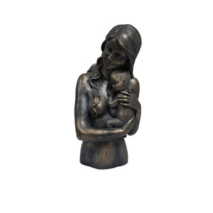 Women Holding Child Statue Sculpture in Patina Black Finish by Urban Port