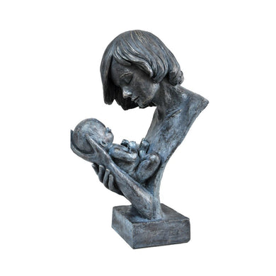 Women Holding Baby in Loving Hands Bust Sculpture in Patina Finish by Urban Port