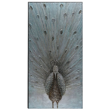 Peacock Hand Painted Wood Wall Art Decor by Urban Port