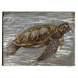 Turtle Hand Painted Aluminum Wall Art Decor by Urban Port