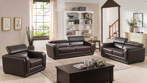 3 Piece Calvin Collection Modern Style Leather Living Room Complete Living Room Collection, Dark Brown