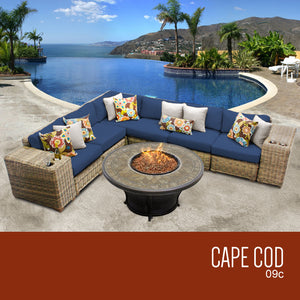 Cape Cod 9 Piece Outdoor Wicker Patio Furniture Set 09c