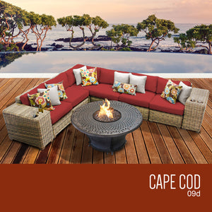 Cape Cod 9 Piece Outdoor Wicker Patio Furniture Set 09d
