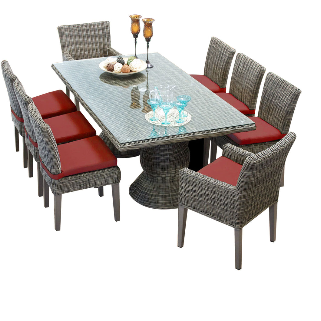 Cape Cod Vintage Stone Rectangular Outdoor Patio Dining Table with 6 Armless Chairs and 2 Chairs w/ Arms