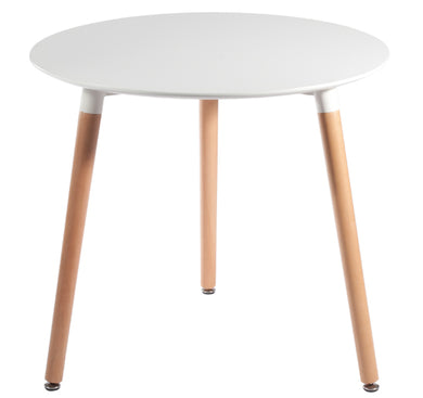 Jesse Circular Dining Table White Natural Wood Legs 31