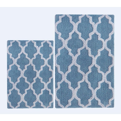 Smoke Blue/White  Damask 2 Pc Bath Set