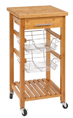 Bamboo Kitchen Cart with Storage