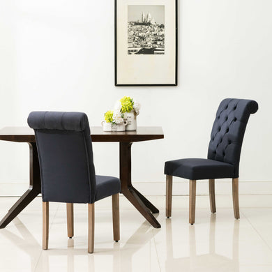Natalie Roll Top Tufted Blue Linen Fabric Modern Dining Chair (Set of 2)