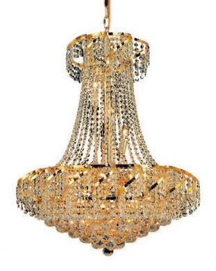 ECA1 Belenus Collection Hanging Fixture D26in H32in Lt:15 Gold Finish (Elegant Cut Crystals)