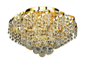 ECA1 Belenus Collection Flush Mount D16in H10in Lt:6 Gold Finish (Elegant Cut Crystals)