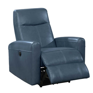 Eli Collection Contemporary Leather Upholstered Living Room Electric Recliner Power Chair, Navy Blue