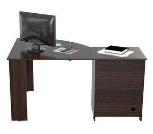 L Shaped Work Center with  Metal Legs and Two Drawers