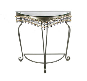 Exquisitely Designed Metal Table with Stones