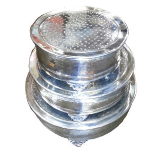 Intriguing 3 Pc Round Cake Stand Hammered - Benzara