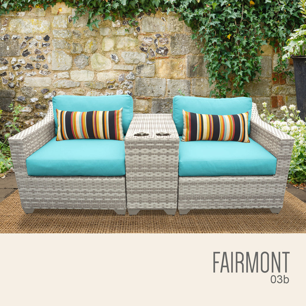 Fairmont 3 Piece Outdoor Wicker Patio Furniture Set 03b