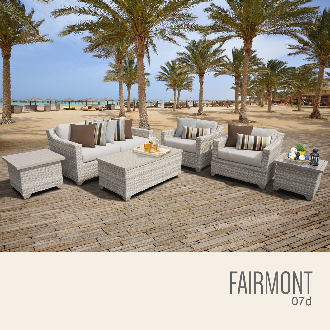Fairmont 7 Piece Outdoor Wicker Patio Furniture Set 07d