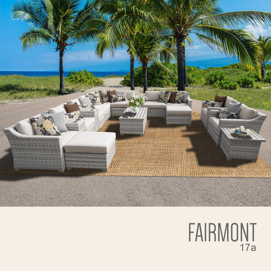 Fairmont 17 Piece Outdoor Wicker Patio Furniture Set 17a