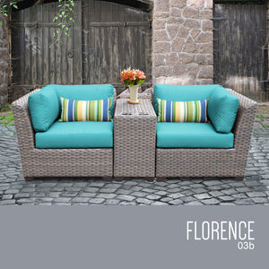 Florence 3 Piece Outdoor Wicker Patio Furniture Set 03b