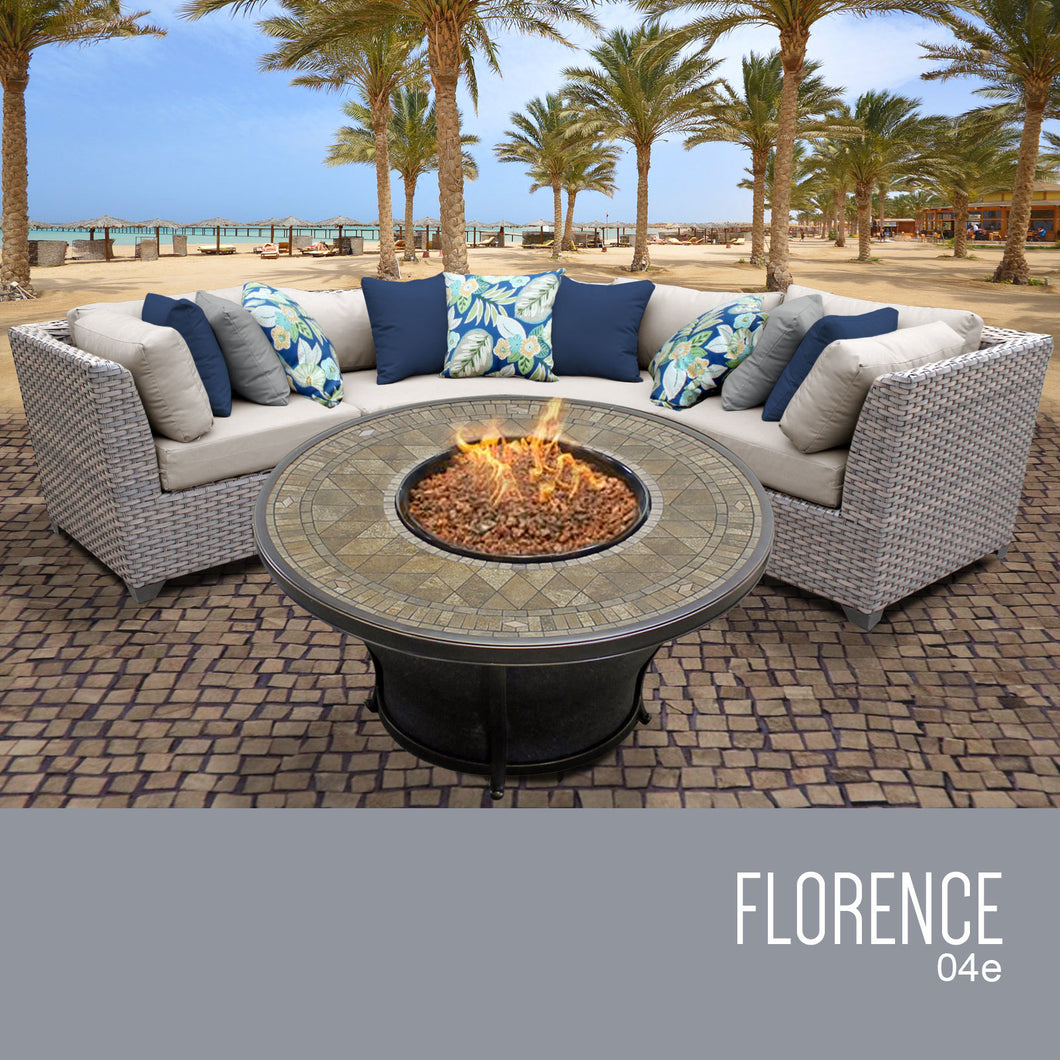Florence 4 Piece Outdoor Wicker Patio Furniture Set 04e