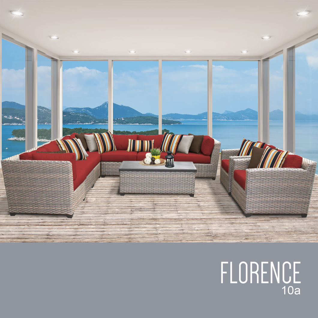 Florence 10 Piece Outdoor Wicker Patio Furniture Set 10a