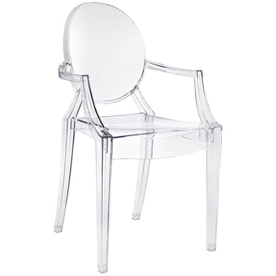 Modern Philippe Starck Kartell Style Ghost Dining Arm  Chair Clear Transparent