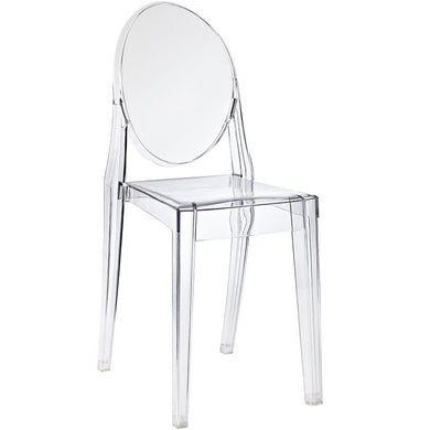 Modern Philippe Starck Kartell Style Ghost Dining Side Chair Clear Transparent