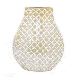 "Benzara 9.5"" Golden and White Ceramic Vase"