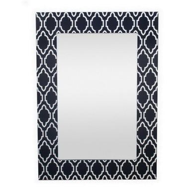 Wood Framed Mirror, Blue & White