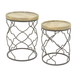 Stylish Metal Wood Accent Table Set Of 2