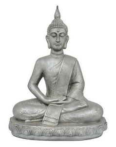 "Benzara 26.75"" Antique Silver Sitting Buddha"