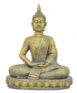 "Benzara 26.75"" Antique Golden Sitting Buddha"