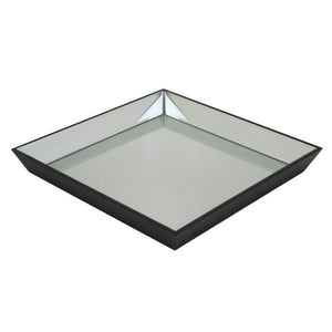 Wood Mirrored Tray, Black