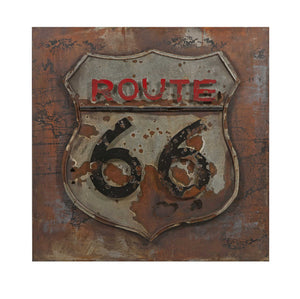 Vintage Route 66 Dimensional Metal Art