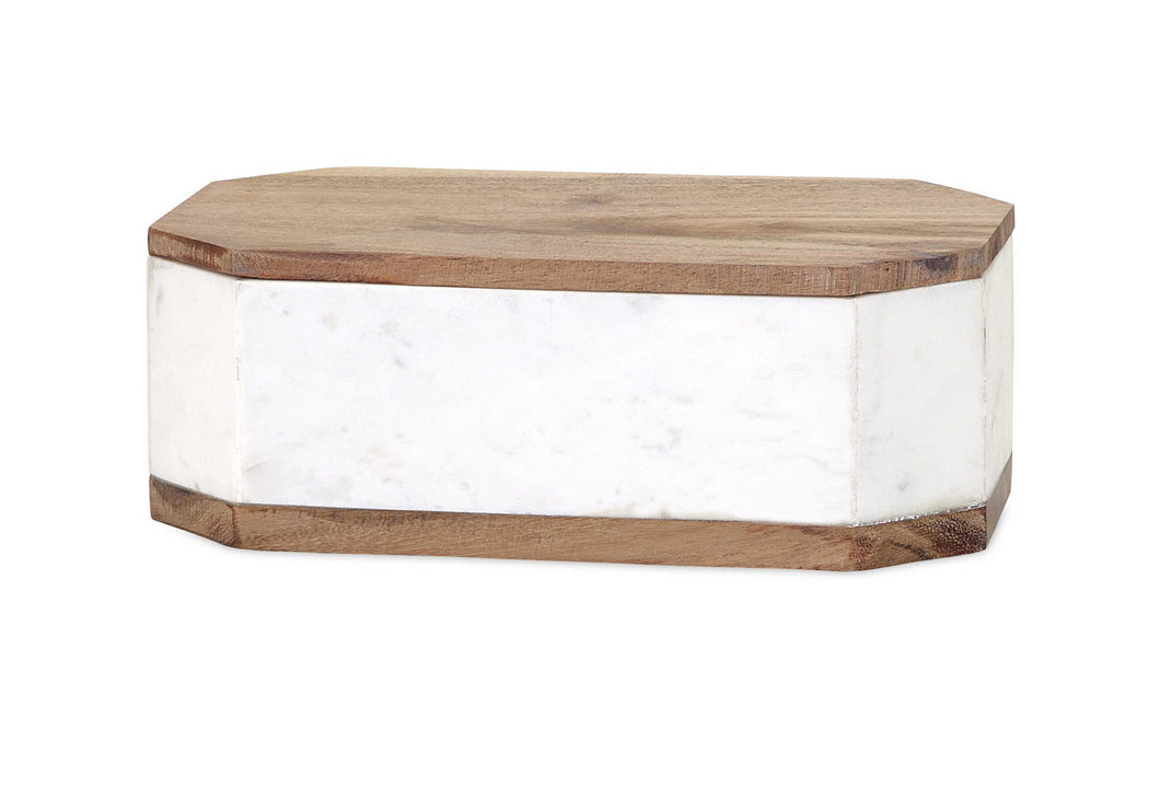 Striking Adora Marble Box with Wood Lid