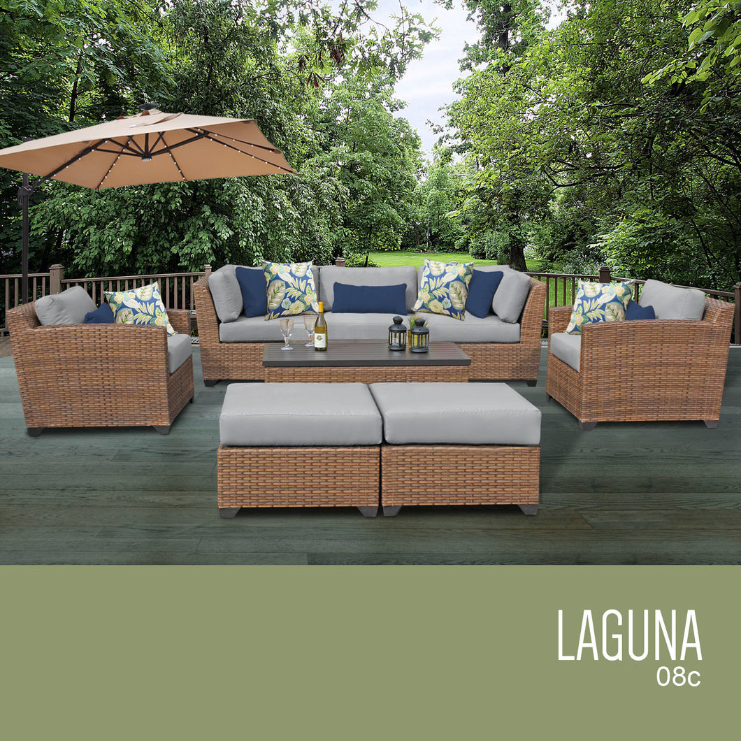 Laguna 8 Piece Outdoor Wicker Patio Furniture Set 08c