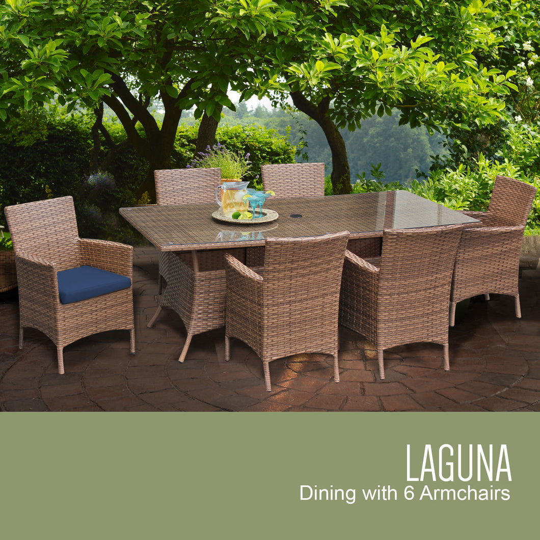 Laguna Rectangular Outdoor Patio Dining Table with 6 Chairs