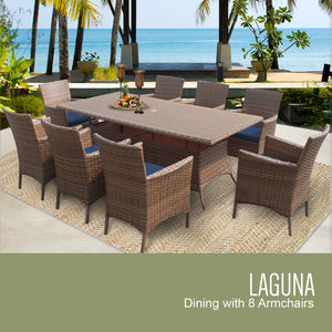 Laguna Rectangular Outdoor Patio Dining Table with 8 Chairs