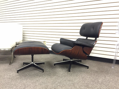 Lounge Chair Black Leather w/ Rosewood