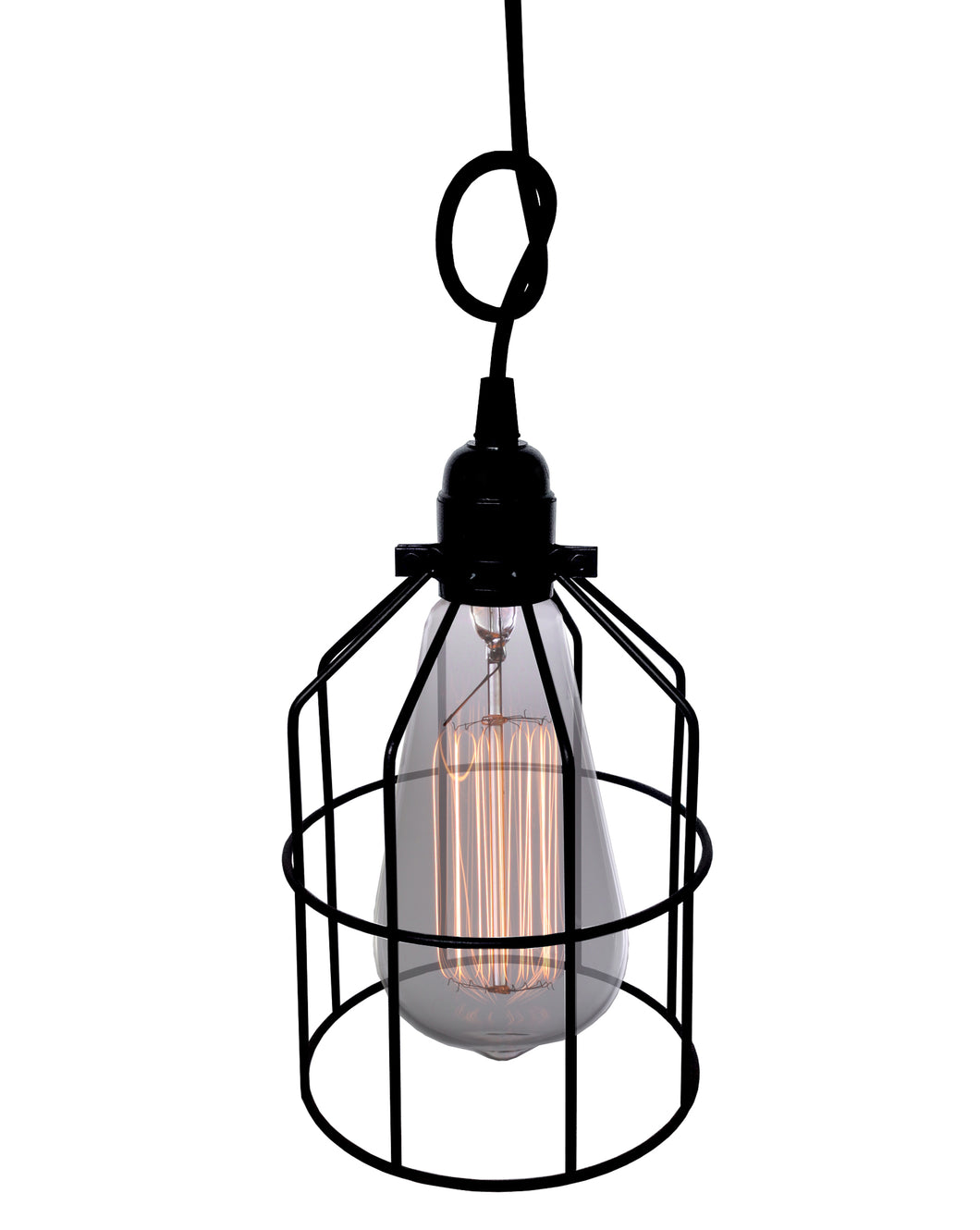 Leena 1-light Black Adjustable Height 6-inch Edison Pendant with Bulb