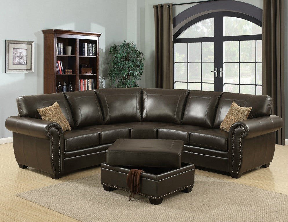 Louis 3 Piece Brown Traditional Living Room Sectional with Ottoman