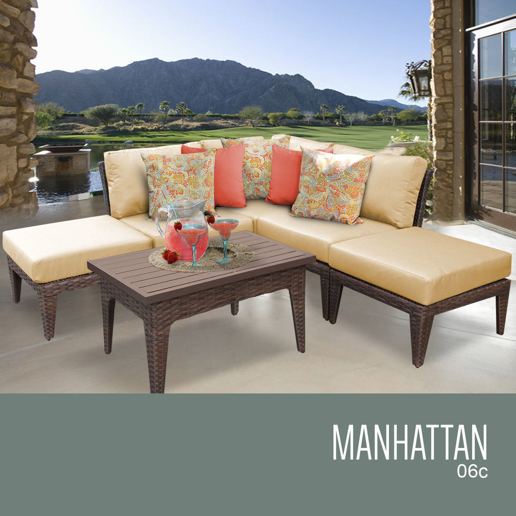 Manhattan 6 Piece Outdoor Wicker Patio Furniture Set 06c