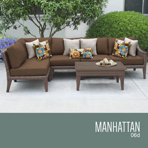 Manhattan 6 Piece Outdoor Wicker Patio Furniture Set 06d