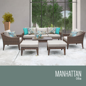 Manhattan 8 Piece Outdoor Wicker Patio Furniture Set 08a