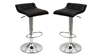 Manhattan Comfort Sleek Varick Barstool with Height Adjustability in Black -Set of 2
